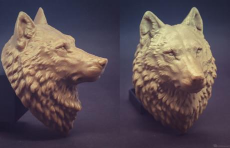 15cm Wolf Head model 3d printed in PLA plastic