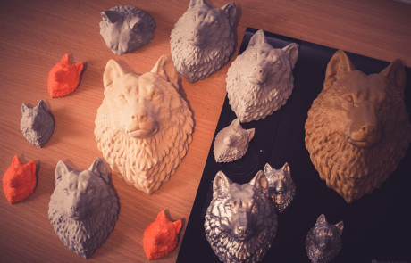 15cm Wolf Head models 3d printed in PLA plastic