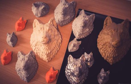 15cm Wolf Head models 3d printed in PLA plastic