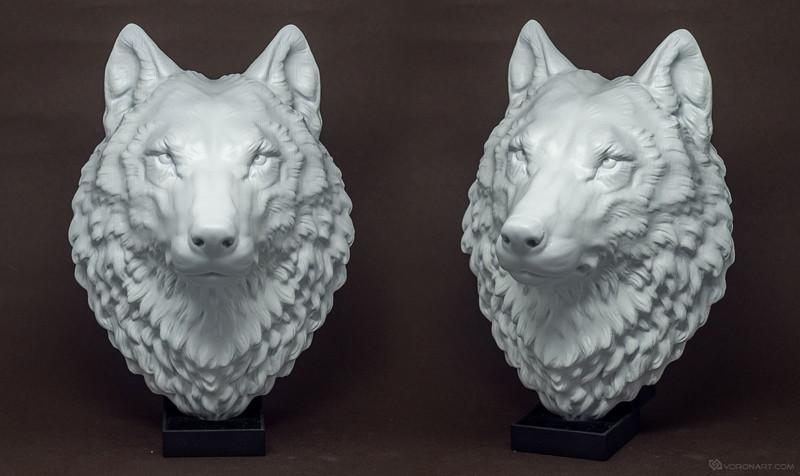proud wolf head model, faux taxidermy wall mount