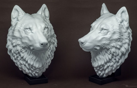 proud wolf head sculpture, faux taxidermy wall mount