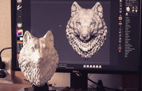 proud wolf head digital sculpture, faux taxidermy wall mount