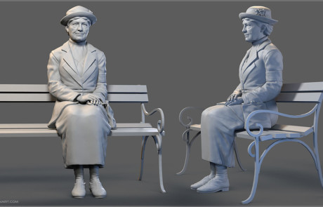 Seated old lady digital sculpture. High polygon 3d model