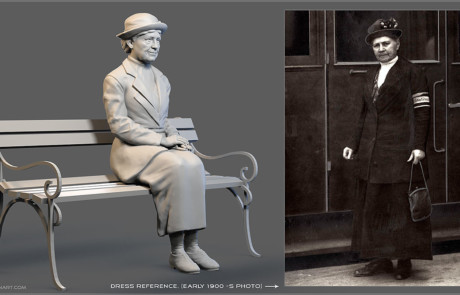 Seated old lady digital sculpture. dress reference