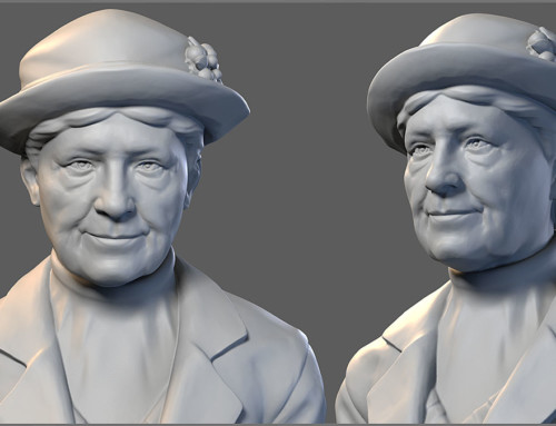 """Stationswerker"". Old lady digital sculpture"