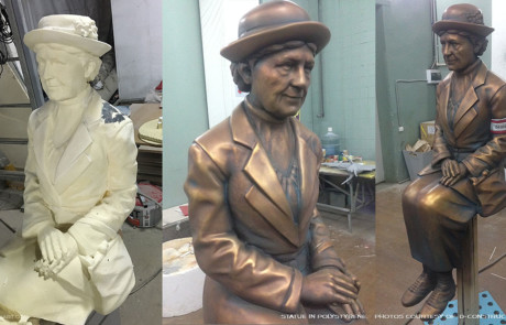 Seated old lady digital sculpture. CNC-carved in polystyrene