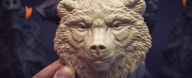 Serious bear face relief. Test 3d print