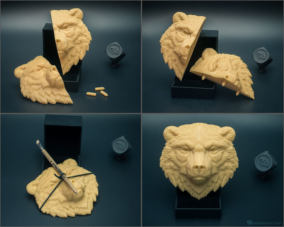 Bear face relief. 3d printed zbrush model for silicone mold making