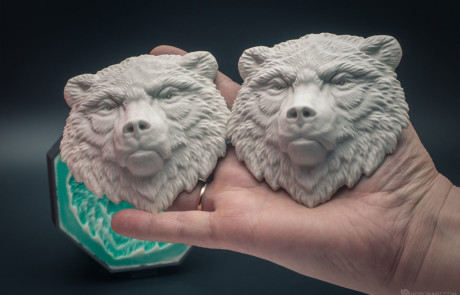 Bear face relief model. Cast in gypsum, 10cm