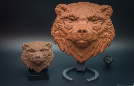 Bear face relief. Cast in chocolate, and 3D printed in PLA