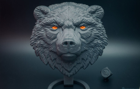 Bear face relief. 3D printed in PLA plastic. 20 cm