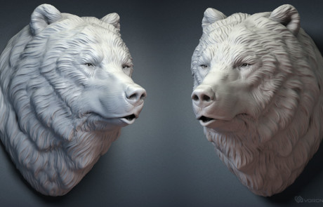 Grizzly bear head with a closed mouth. Faux taxidermy 3d-model for 3d printing, CNC carving