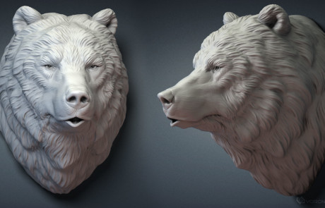 Brown bear head. Digital sculpting for 3d printing, CNC carving