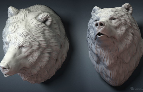 Grizzly bear, Brown bear head wall mount sculpture. 3D model for 3d printing, CNC carving