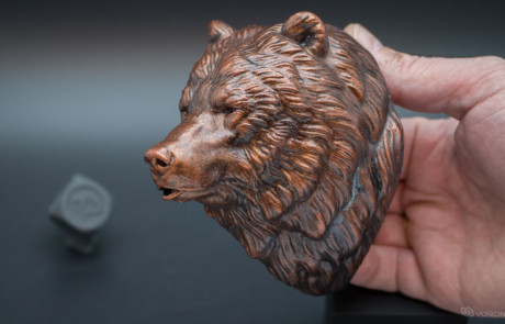 Grizzly, brown bear head polyurethane resin casting. Faux copper painting applied.