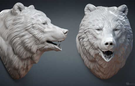 Bear Head sculpture. Digital 3D model for 3d printing, making of faux taxidermy animal