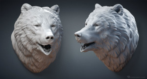 Bear Head sculpture. High polygon 3D model