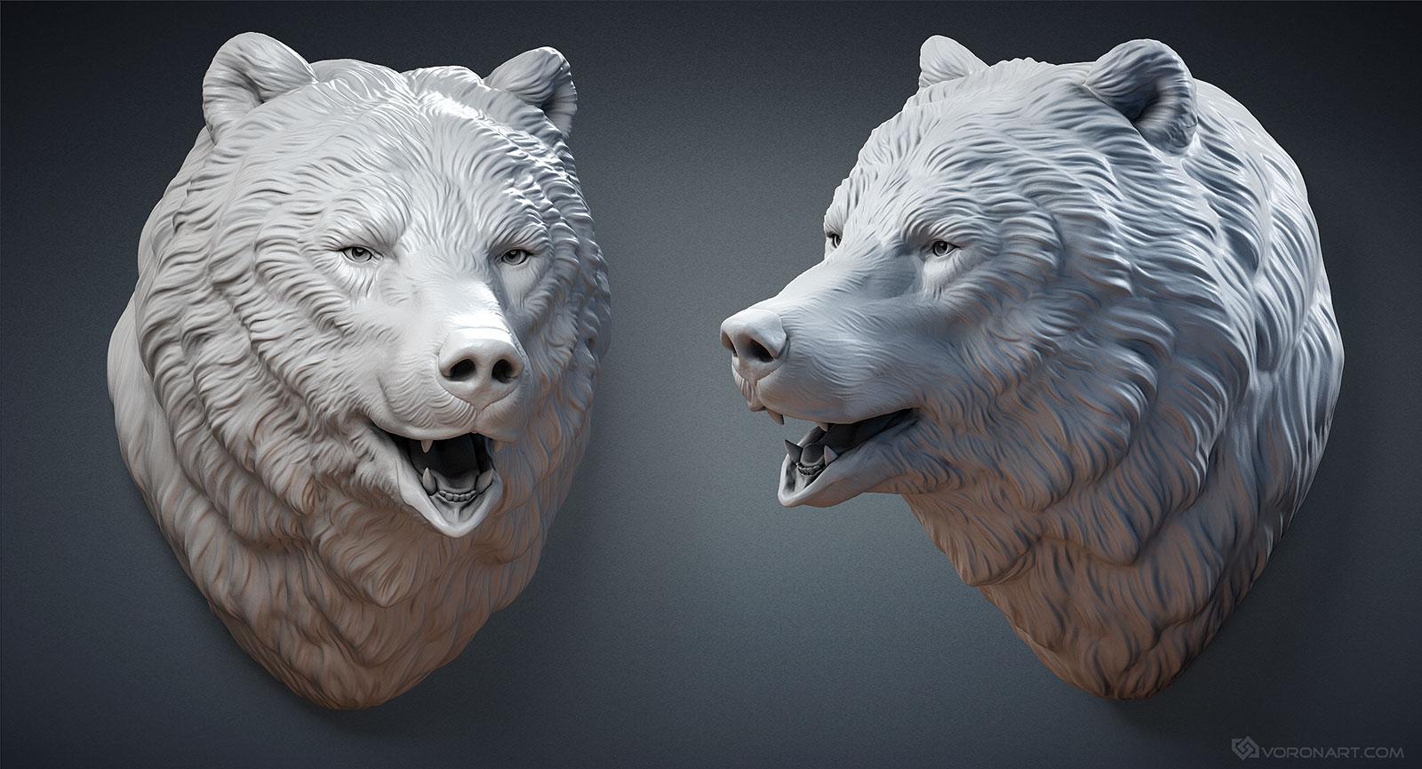 Bear Head Sculpture Wall Mount Model For 3d Printing Cnc