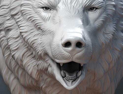 Bear Head sculpture. 3d model
