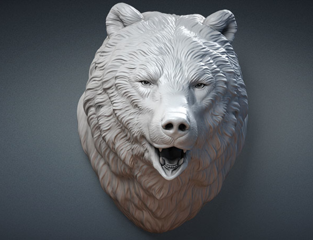 Bear Head sculpture. 3d model