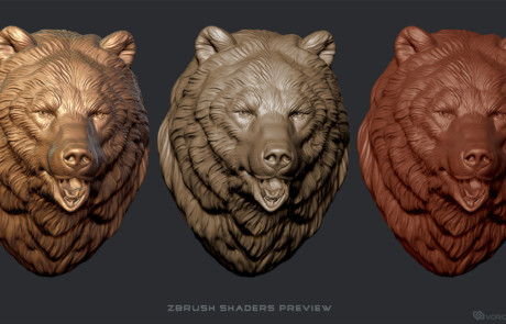 Bear Head sculpture. wall mount 3d model, Zbrush