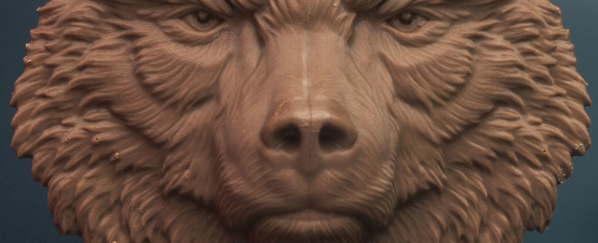 Bear face relief model. Cast in chocolate, 10cm