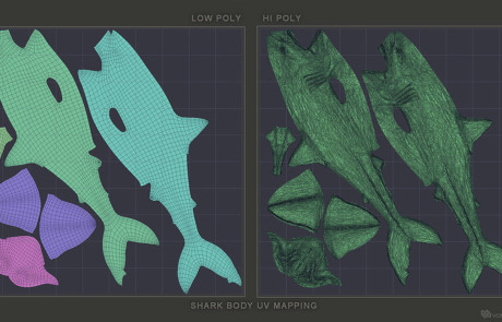 Great White Shark Base Mesh 3d model, UV unwrapped
