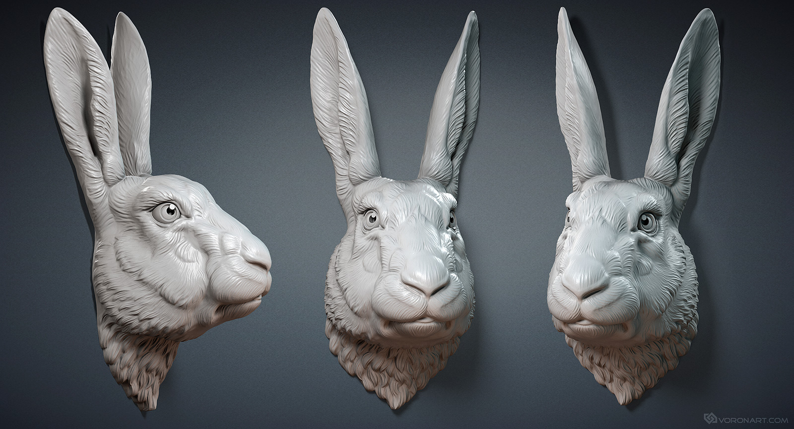 Hare Rabbit Head 3d Model For 3d Printing Zbrush Digital Sculpting