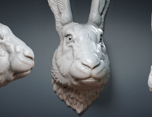 Hare, rabbit head 3d model