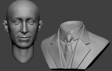 Orville Wright portrait bust digital sculpting