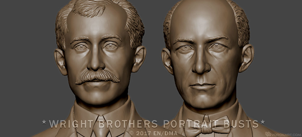 Wright brothers portrait busts for the production of metal statuettes