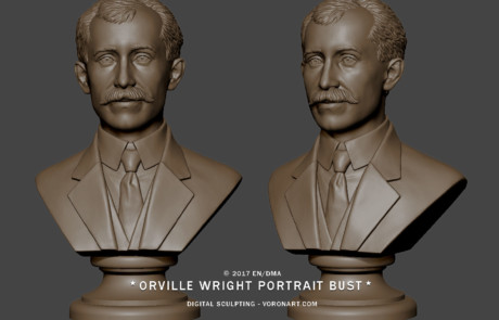Male portrait bust statuette. 3d model from photo