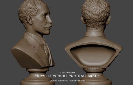 Wright portrait bust sculpture. 3d model from photo