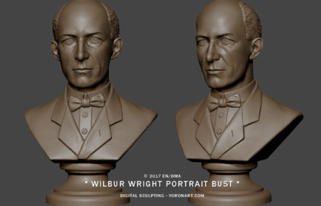 Male portrait bust sculpture from several photo. 3d model