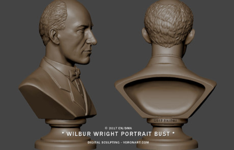 Wright portrait bust sculpture from several photo. 3d model