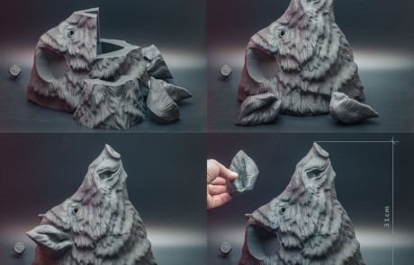 Wild boar. 3d printed animal head. Assembling