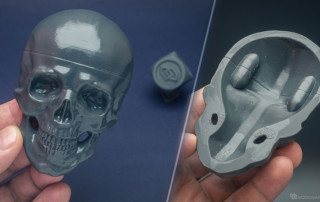 Human skull relief 3d prined in PLA