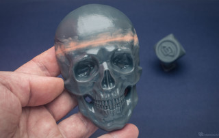 Human skull relief 3d prined in PLA. Fixed seam
