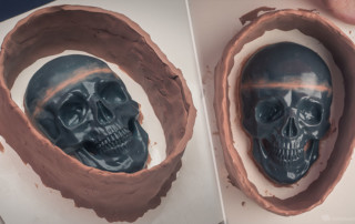 Human skull relief. Formwork with NSP, to make a silikone mold