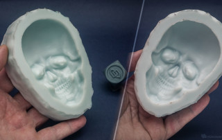 Human skull relief. Silicone mold