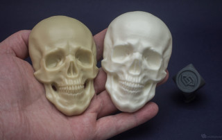 Human skull relief. Resin casting into silicone mold