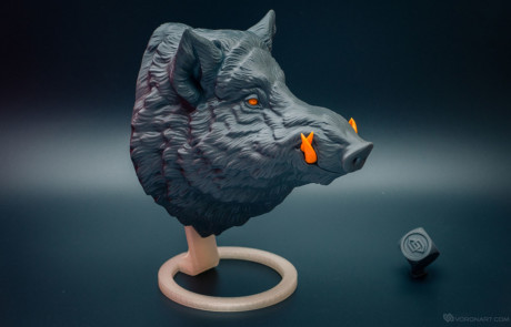Wild boar. 3d printed faux animal head wall mount