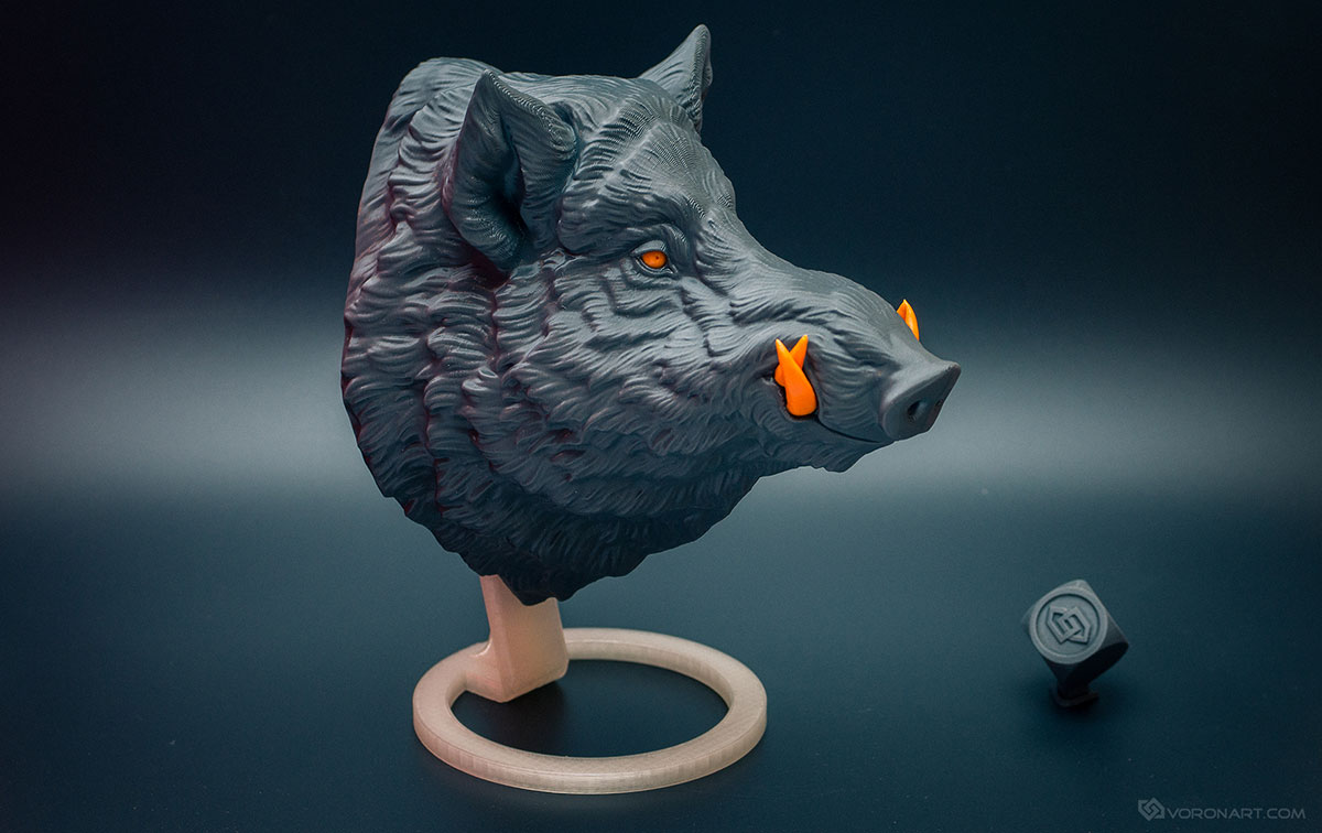 Wild boar  Faux animal head 3d print - Digital Sculpting by Voronart