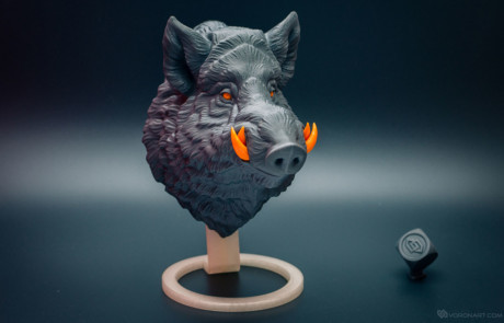 3d printed wild boar. Faux animal head wall mount
