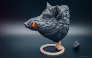 3d printed wild boar. Faux animal head, hunting trophy