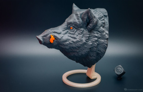 3d printed wild boar. Faux animal head, hunting trophy