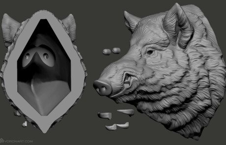 Wild boar. Faux animal head. Preparing for 3d printing