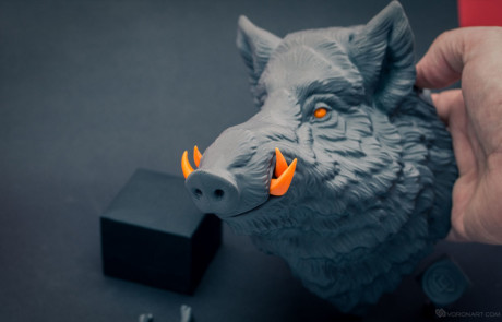 Wild boar. Animal head 3d printed by parts