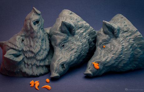Wild boar wall mount. Animal head 3d printed by parts