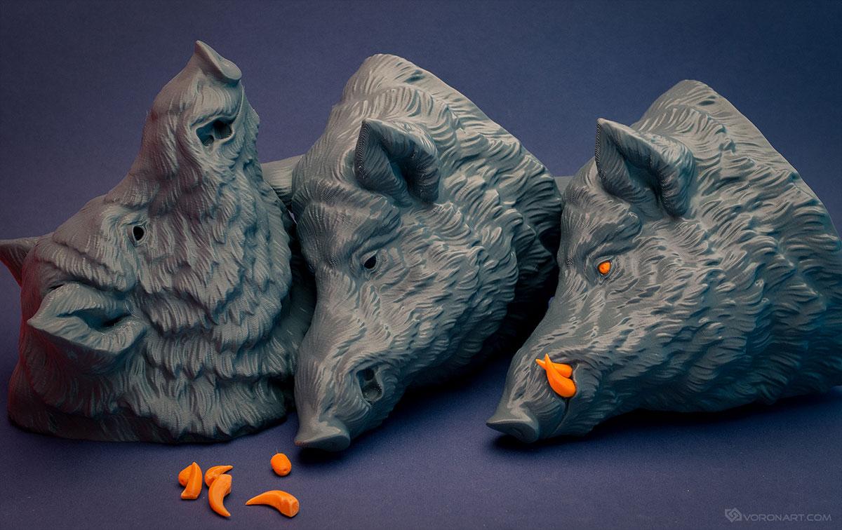 Wild boar  Faux animal head 3d print - Digital Sculpting by Voronart